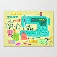 calender Canvas Prints featuring DIY-create your life-2016 Calender by Elisandra