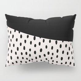 Modern geometrical black ivory paint  brushstrokes Pillow Sham