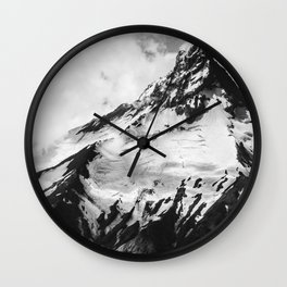black and white volcano photography | b&w nature landscape Wall Clock