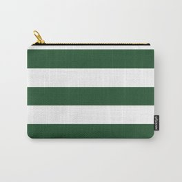 Cal Poly Pomona green - solid color - white stripes pattern Carry-All Pouch