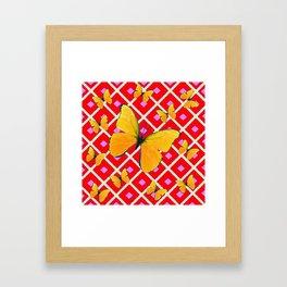 Yellow Butterflies on Red Patterned Art Framed Art Print