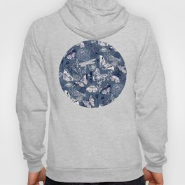 Dragonflies, Butterflies and Moths With Plants on Navy Hoody