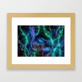 Cosmic Abstract Emerald Framed Art Print