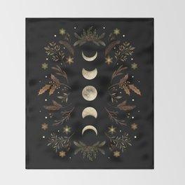 Moonlight Garden - Winter Brown Throw Blanket