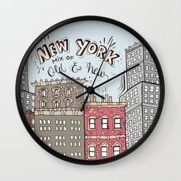 New York - Mix of old and new Wall Clock