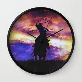 Cowboy Roping A Steer Wall Clock