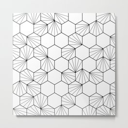 Peacock comb black white geometric pattern Metal Print