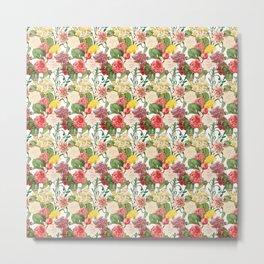 Multicolored Flowers 1   Vintage Floral Pattern   Flower Patterns   Metal Print
