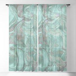 Mint Gem Green Marble Swirl Sheer Curtain