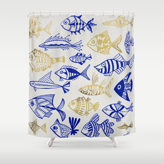 Inked Fish Navy Gold Shower Curtain By Cat Coquillette Society6