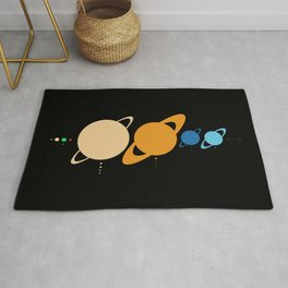 Planets And Moons To Scale Rug