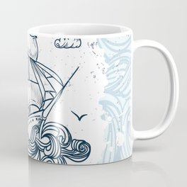 Hand drawn boat with waves background Coffee Mug