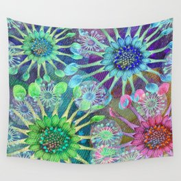 Abstract Passion Flower Burst Wall Tapestry