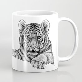 Amur tiger cub - ink illustration Coffee Mug