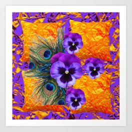 MODERN CONCEPT PURPLE PANSIES GREEN PEACOCK Art Print