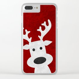 Christmas reindeer red marble Clear iPhone Case