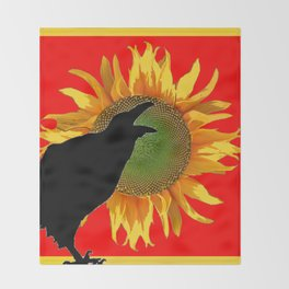 BLACK CROW YELLOW SUNFLOWER FLORAL RED ART Throw Blanket