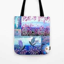 Cherry Blossom Collage Tote Bag
