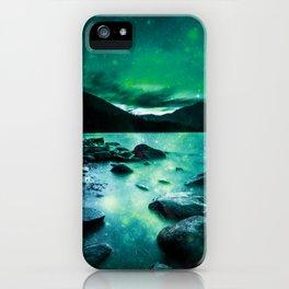 Magical Mountain Lake Teal Green iPhone Case