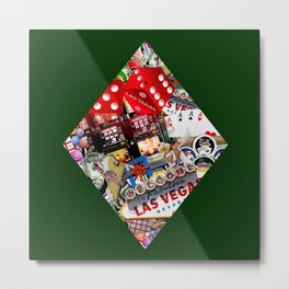 Diamond Playing Card Shape - Las Vegas Icons Metal Print