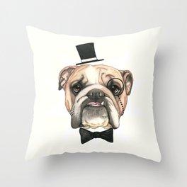 English Bulldog - livin' la vida bulldog Throw Pillow