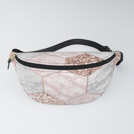 Rose gold dreaming - marble hexagons Fanny Pack