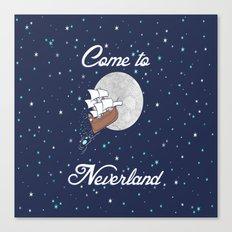 Peter Pan Neverland in Navy Canvas Print