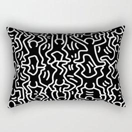 Figures Variation Keith Haring Black Rectangular Pillow