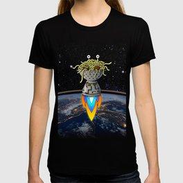 Flying Spaghetti Monster Earth Space Stars Rocket Atmosphere T-shirt