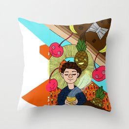 cherry/pineapple coffee/banana Throw Pillow