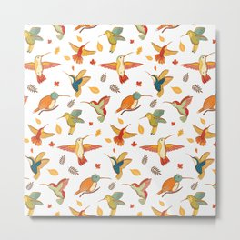 Cute Hummingbirds Pattern Metal Print