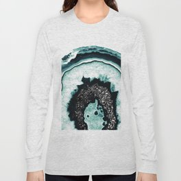 Icy Blue Agate with Black Glitter #1 #gem #decor #art #society6 Long Sleeve T-shirt