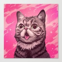 lil bub Canvas Prints featuring Fantasy in BUB Minor by Noelle McClanahan