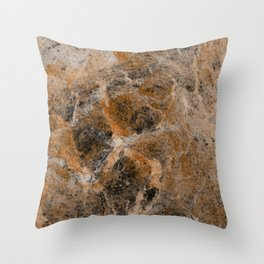 Rusting Marble - Abstract Marble Effect Painting in gold, bronze, black and white Throw Pillow