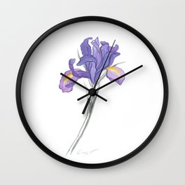 Iris 03 Botanical Flower * Lavender Purple Dutch Iris Wall Clock