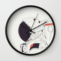 astronaut Wall Clocks featuring GOD IS AN ASTRONAUT by CranioDsgn