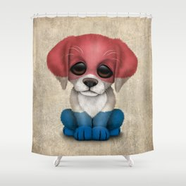 Cute Puppy Dog with flag of The Netherlands Shower Curtain