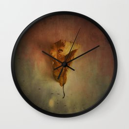 Lonely Autumn Leaf Wall Clock