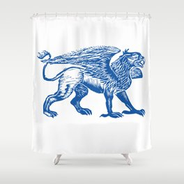 Gryphon-Blue Shower Curtain