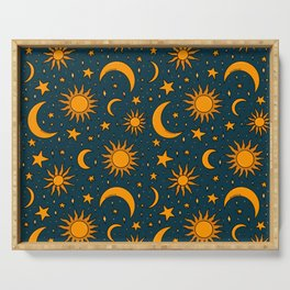 Vintage Sun and Star Print in Navy Serving Tray