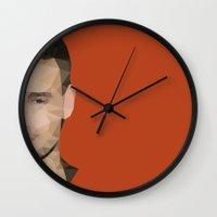 liam payne Wall Clocks featuring Liam Payne Polygon Half Face by summergirl