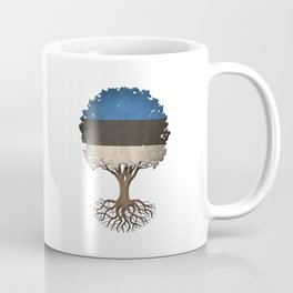 Vintage Tree of Life with Flag of Estonia Coffee Mug