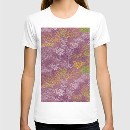 Japanese pattern floral purple T-shirt