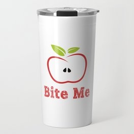 Red Apple Illustration - Bite Me Typography Travel Mug