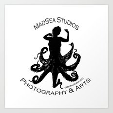 MadSea Nymph, black on white Art Print