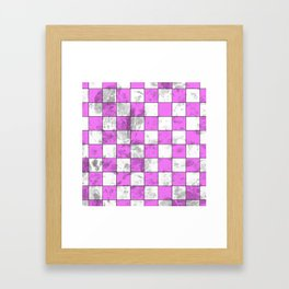 Textured Pink And White Squares Framed Art Print