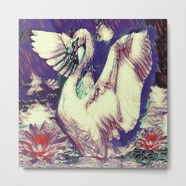 WHITE SWAN  PURPLE &  PINKISH  MODERN  WATER DESIGN Metal Print