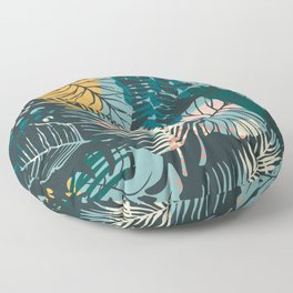 Dark Abstract Leaves Foliage Pattern Floor Pillow