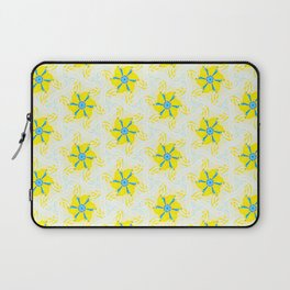 bright yellow turquoise floral geometric pattern Laptop Sleeve