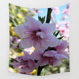 Pastel Shades of Peach Tree Blossom Wall Tapestry